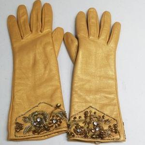 100% Leather vintage gold embellished gloves